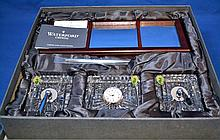 (5)PIECE WATERFORD SET  Waterford Crystal and Wooden Desk Set. Clock, Pen Holders and a Wooden Mirror Desk Set. Mark, ''Waterford''. ''Made in Ireland''. Comes in presentation box. Condition, age appropriate wear. (mirror becoming unglued).