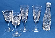TRAY LOT OF WATERFORD CRYSTAL  (5)pieces including, small bottle with stopper and (4) pieces of stemware. Mark, Waterford. Condition, age appropriate wear.