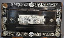 TABLE TOP CIRCA 1800'S  Famiglia Coleman 1894. Wooden Table Top with carved ivory roundels & Plaques. Cracked and many losses. Engraved by Pogliani - Milano, Italy. 20 1/2''H. 36 1/2''W. Condition, age appropriate wear. All items sold as is.