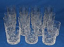 WATERFORD CRYSTAL LISMORE STEMWARE LOT 15 PIECES   Lismore pattern stemware. Lot includes, 4 tall water glasses 6 3/4''H.  7 tumblers 4 1/2''H.  And 4 rock glasses 3 1/4''H.  All acid stamped ''Waterford''. Condition, age appropriate wear.