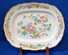 MINTONS PORCELAIN PLATTER  Mintons porcelain oval shaped platter.  Chinese peony and bird design. Brown rim. Retailed through ''Hamilton & Clarke Co.'' 18 3/4''L.  14 3/4''W.  Mark, Mintons 3934.  Condition, age appropriate wear.