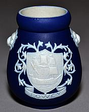 ADAMS JASPERWARE TOOTHPICK HOLDER  Dark Blue and White Jasperware Toothpick Holder. Decorated with ''Fowey'' family crest. 2 side lionhead ornaments.  2 1/2''H.  Mark, Impressed Adams Tunstall England. Condition, age appropriate wear.