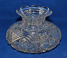 HAWKES CUT GLASS CENTER BOWL Signed Hawkes cut glass center bowl. Hobstar bottom. Sides with hobstar and fans. Step cut neck. Petalled top rim. 4 3/4''H. 4''diam.top. 6 1/2''diam.widest part. 3 3.4''diam.base. Mark, Acid stamped ''Hawkes Logo''