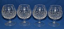 4 WATERFORD ? CRYSTAL BANDY SNIFTERS  4 Waterford (?) crystal kelsey pattern brandy sniffers. 4 1/2''H. 2 1/4''diam.top. 3 1/2''diam.widest part. 2 1/2''diam.base. No Mark. Condition, age appropriate wear.