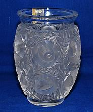 LALIQUE VASE  Lalique crystal vase with birds in frosted and clear. 7''H. 4 1/4''diam.top. 5''diam. widest part. 3''diam.base.  Mark, signed script Lalique France. Condition age appropriate wear. (L#1310)