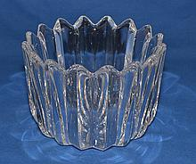 ORREFORS CRYSTAL BOWL  Crystal Bowl with ridges around perimeter. 7 1/2''D. 5 1/2''H. Mark, Orrefors 77. Condition, age appropriate wear. (minor scratches).