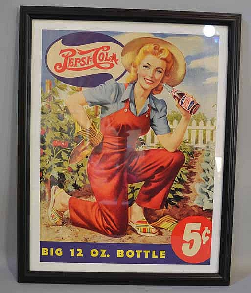 PEPSI ADVERTISING FRAMED. Pepsi Big 12 oz. bottle 5 cents. with woman gardening, in black frame under glass. No mark. Size; 23 3/4''H, 18 3/4''W. Condition: age appropriate wear.