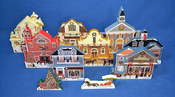 CHARLES WYSOCKI HOMETOWN CHRISTMAS SCENES WOOD CUT OUTS BY BRADFORD EXCHANGE. 8 PIECES. Includes: First issue.Joy to the World A0608. Second issue. Main St. Market. A 0679. Third Issue. Hometown Heroes. A 0835. Fourth Issue. Special Delivery. A1988.