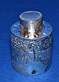 1897 SHEFFIELD STERLING TEA CADDY 1.9 TROY OZ. 1897 Sheffield sterling tea caddy, repousse scroll and swag decoration, no monogram. Marked: (on lid and bottom of tea caddy). HA (crown) (lion) (year mark). size; 3''H, 2''diam. base. Weight: 1.9 troy