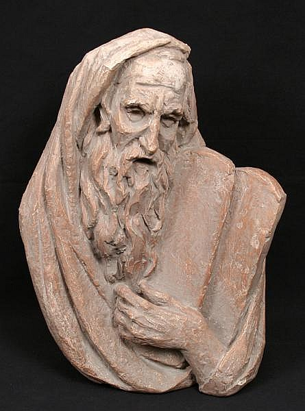 MOSES SCULPTURE BY BERGIER. 1967 Cast plaster bust of Moses holding the 10 commandments, terra cotta finish. Marked: Bergier 67. (Arnold Henry Bergier b. 1914-2007). Size: 15 1/2''H, 17''W, 6''deep. Condition: age appropriate war, small chip on