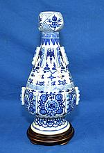 QING DYNASTY KANGXI (1662-1722) CHINESE PORCELAIN BLUE & WHITE VASE - Raised decoration, 12 1/4''H, 6-character blue mark, - Provenance: Purchased from Adriaans New Orleans, 1977 - Condition: Age appropriate wear; all items sold as is.