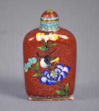 CHINESE CLOISONNE SNUFF BOTTLE - 2.75''H x 1.5''W x .5''D - Condition: Age appropriate wear; All items sold as is.