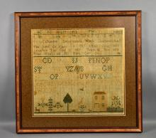 EARLY SAMPLER BY ANNA CATHARINE - From Chambersburg, framed under glass in wood frame; Measures: Visible Art 17''H x 18''W, Frame 23''H x 24''W - Condition:  wear to center, slight staining, faded; Age appropriate wear; All items sold as is.