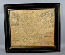JOHANN BAPTIST HOMANN c1730 MAP OF AUSTRIA ENGRAVING - Hand colored engraving laid on board; set under glass in black frame; Measures: Map - 20''H x 24''W, Frame - 26'' x 29'' - Condition - Age appropriate wear. All items sold as is.