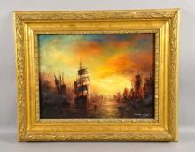 GRAHAM HEDGES (UNITED KINGDOM, b c1952) - Harbor Scene; Oil on Canvas; Signed lower right; Set in gold gilt frame by The Custom Shop, Uniontown PA; Measure: Visible Art 12.25''H x 16''W, Frame 17.5''H x 21.25''W - Condition: Age appropriate wear; All items sold as is.