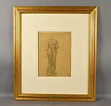 EDGAR DEGAS (Franch, 1834-1917) - Study in pencil; signed lower right; set under glass in gilt frame by Circa Fine Art, matted and protected with Crescent Cotton Rag mat by Crescent Museum Grade Mat; Measures: Visible Art 12''H x 8.5''W, Frame 25''H x 22''W - Condition: Age appropriate wear; All items sold as is.