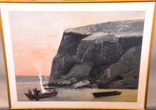 MAIN COASTAL SCENE - Boats at shore by the cliffs Maine coastal scene; Acrylic on paper; signed lower right; modern gold frame; Measures: Visible Art 37''H x 49''W, Frame 44''H x 56''W; Provenance: Displayed on the walls of Poli's Restaurant from 1994 until it's closing in 2005 - Condition: Age appropriate wear; All items sold as is.