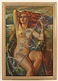 VINCENT NESBERT (Pittsburgh 1898-1976) 'Awakening', oil on canvas, signed lower right V. Nesbert. Depicts a red haired nude on shoreline. Titled on frame. Contained in molded painted frame. Condition: areas of paint loss and surface abrasions., Vincent Nesbert, Click for value