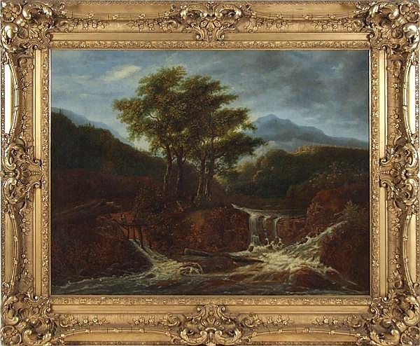 MANNER OF JACOB VAN RUISDAEL (1628-1682) Landscape with waterfall and figures, oil on canvas, unsigned. Contained in ornate 19th c. gilt gessoed frame. Condition: 19th c. reline, paint chip at lower left, craquellure, small scattered areas of