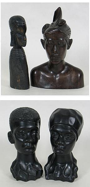 2 WOODEN CARVINGS (1) carved wood bust of figure wearing head dress with flower. Size 10''x7'' Condition:. minor wear. Mark base ''A Fatimah Mo, Berata. (1) wooden carved mini statue with elongated ears and ringneck. 9.25''H. Condition:. minor wear.