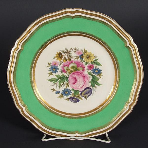 ROSENTHAL CHIPPENDALE PLATES 12PCS. 12 Rosenthal Chippendale pattern service plates, center with decaled polychrome floral decoration, border with gilt and wide apple green band, shaped edge. Marked: Rosenthal Bahnhof Selb Germany Chippendale 2531 22