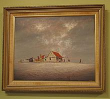 Bob Tindall, oil on board Outback hotel, signed