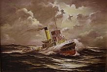 Ian Hansen (1948- ) Tug Marimba 44.5 by 60 cm. Oil