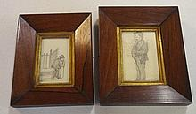 Two antique pencil sketches in cedar frames 16.5cm