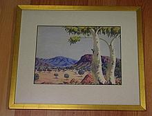 Oscar Namatjira (1922-1991), watercolour outback