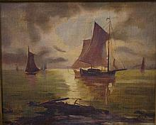 19th C British marine oil on canvas Signed RA