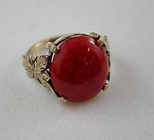 Antique 9ct gold and red coral ring approx 7.6