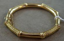 Good antique 15ct gold wax filled bangle with