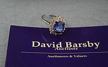 14ct white gold, diamond & square tanzanite ring