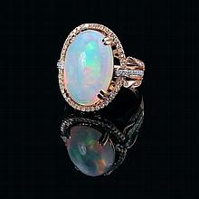 18ct rose gold crystal opal and diamond dress ring