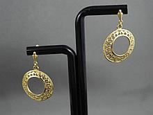 9ct yellow gold filigree earrings approx 3.7 grams