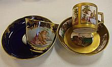 Two Meissen style coffee cups and saucers