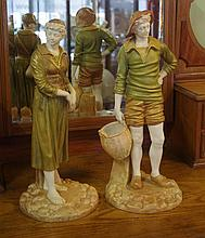 Two Royal Worcester 'French Fishing Folk' figurine