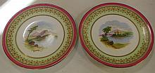 Two handpainted Victorian cabinet plates 23.5 cm