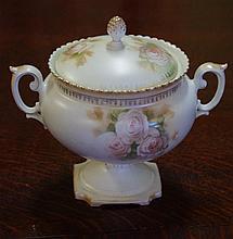 R S Prussia lidded jar 20.5 cm tall.
