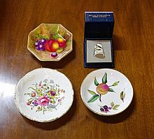 Royal Worcester handpainted fruit dish & 3 others
