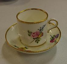 Antique Sevres style coffee cup and saucer