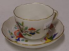 Old Meissen coffee cup and saucer 6 cm tall.