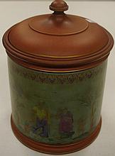 Victorian Watcombe terracotta lidded jar 21 cm