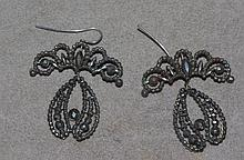 Antique Georgian cut steel earrings drop approx