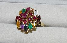 18ct yellow gold gemset dress ring includes round