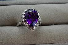 18ct white gold amethyst and diamond ring amethyst