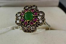 Ruby, emerald and silver ring