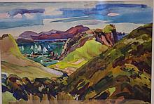 Douglas Bright, watercolour untitled, New Zealand landscape, 37cm x 55cm approx. Signed lower left.