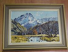 Aston Greathead (1921-2012), oil on board (New Zealand), Mt Sefton, signed lower right, 39.5cm x 54.5cm