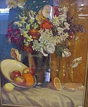 Albert John Sherman (1882-1971) oil on board untitled still life flowers & fruit, signed lower left, 51cm x 40.5cm approx.